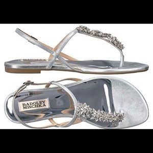 Gorgeous Badgley Mischka dressy silver sandals